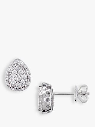 E.W Adams 18ct White Gold Pear-Shaped Diamond Cluster Stud Earrings, White Gold
