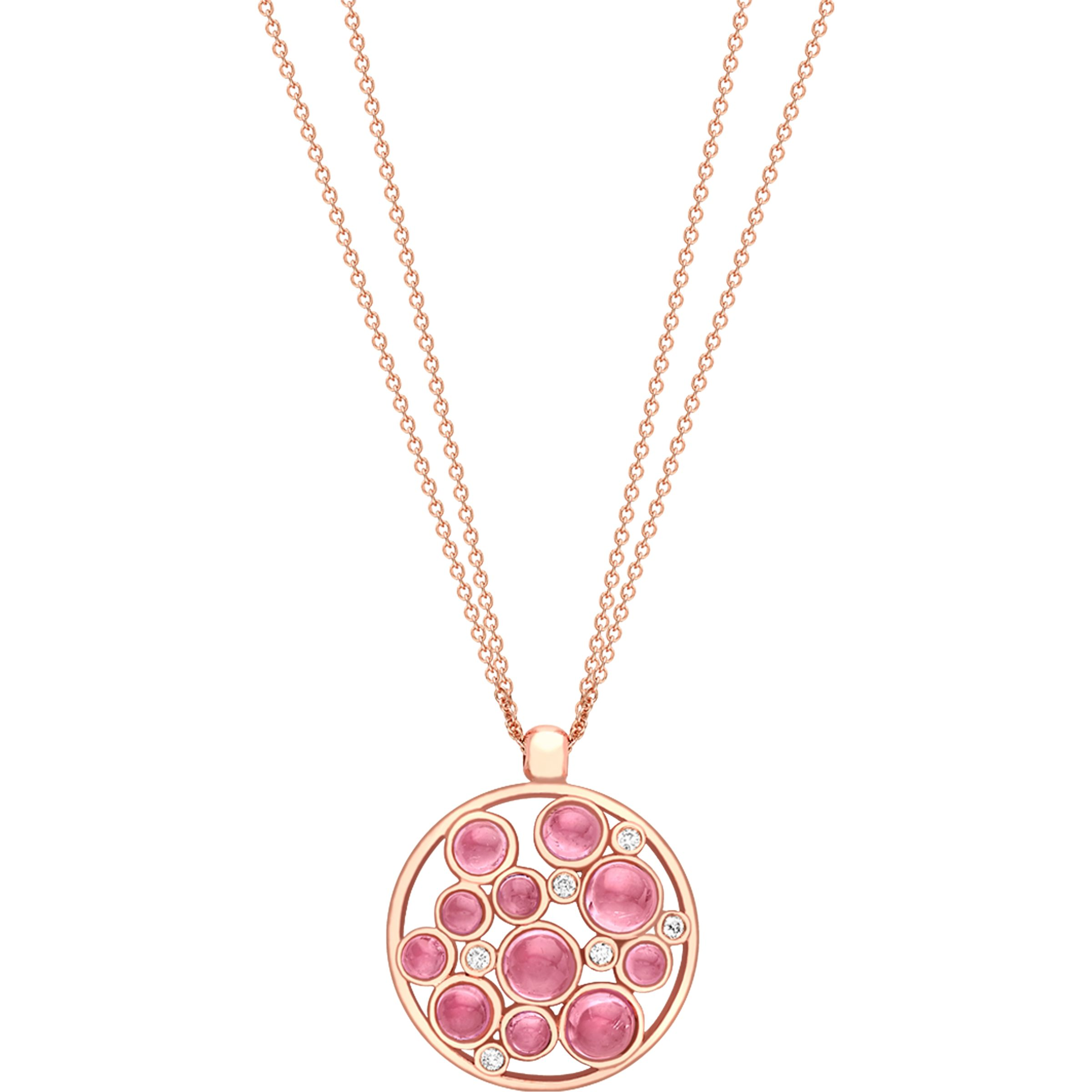 London Road London Road 9ct Gold Diamond Bubble Cluster Pendant, Rose Gold/Pink Tourmaline