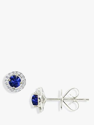 E.W Adams 18ct White Gold Diamond Sapphire Claw Set Cluster Stud Earrings, Sapphire