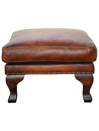 John Lewis & Partners Compton Leather Footstool, Cognac