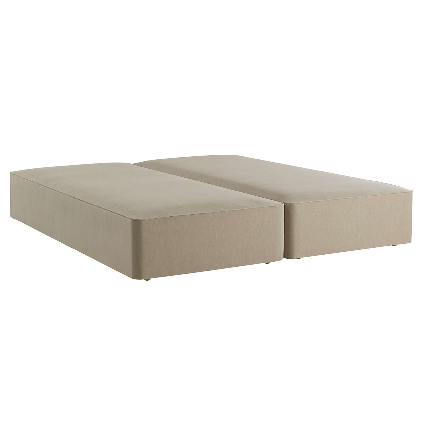 John Lewis Luxury True Edge Divan Base, Pebble Canvas, King Size