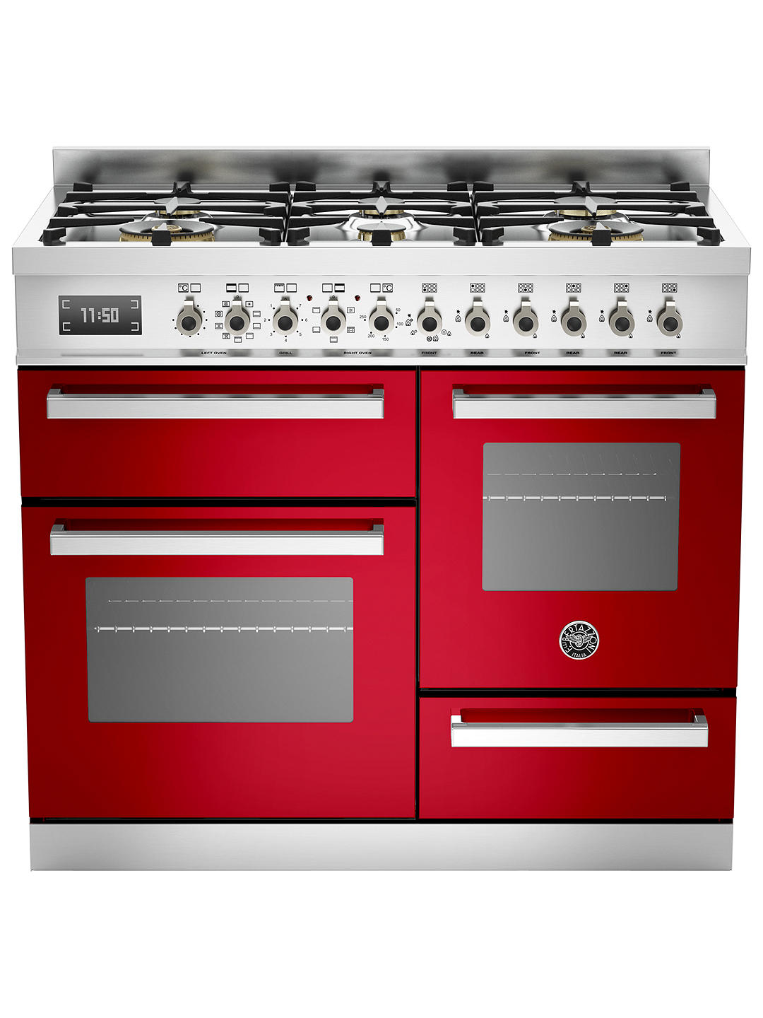 Buy Bertazzoni Professional Series Dual Fuel Range Cooker, Red Online at johnlewis.com