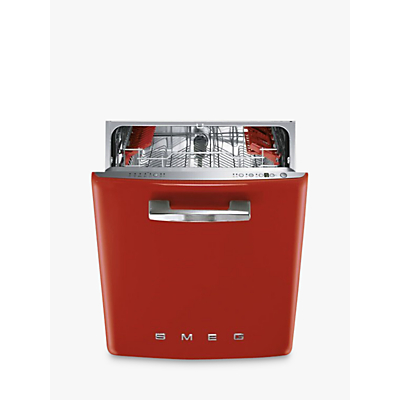 Image of Smeg DF6FABRD Retro Freestanding Dishwasher, Red