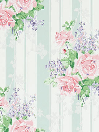 Buy Sanderson Cecile Rose Wallpaper, Duck Egg/Rose, DVIN214583 Online at johnlewis.com