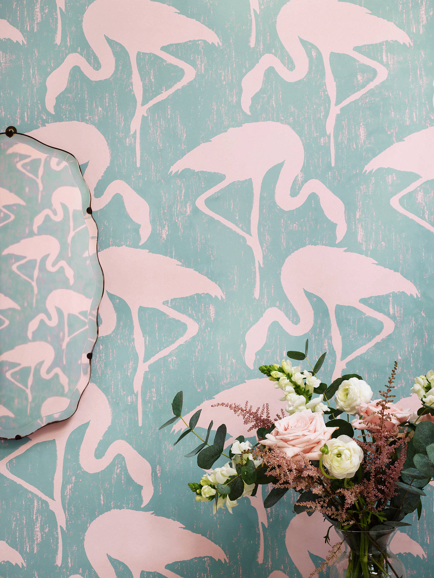 Buy Sanderson Flamingos Wallpaper, Turquoise/Pink, DVIN214569 Online at johnlewis.com