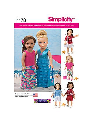 Simplicity Craft Doll Clothes Sewing Pattern, 1178, One Size
