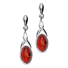 Buy Goldmajor Sterling Silver Amber Drop Earrings, Silver Online at johnlewis.com