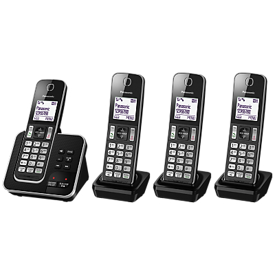 Panasonic KX-TGD324EB Digital Cordless Phone with Nuisance Call Control and Answering Machine, Quad DECT