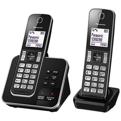 Panasonic KX-TGD322EB Digital Cordless Phone with Nuisance Call Control and Answering Machine, Twin DECT