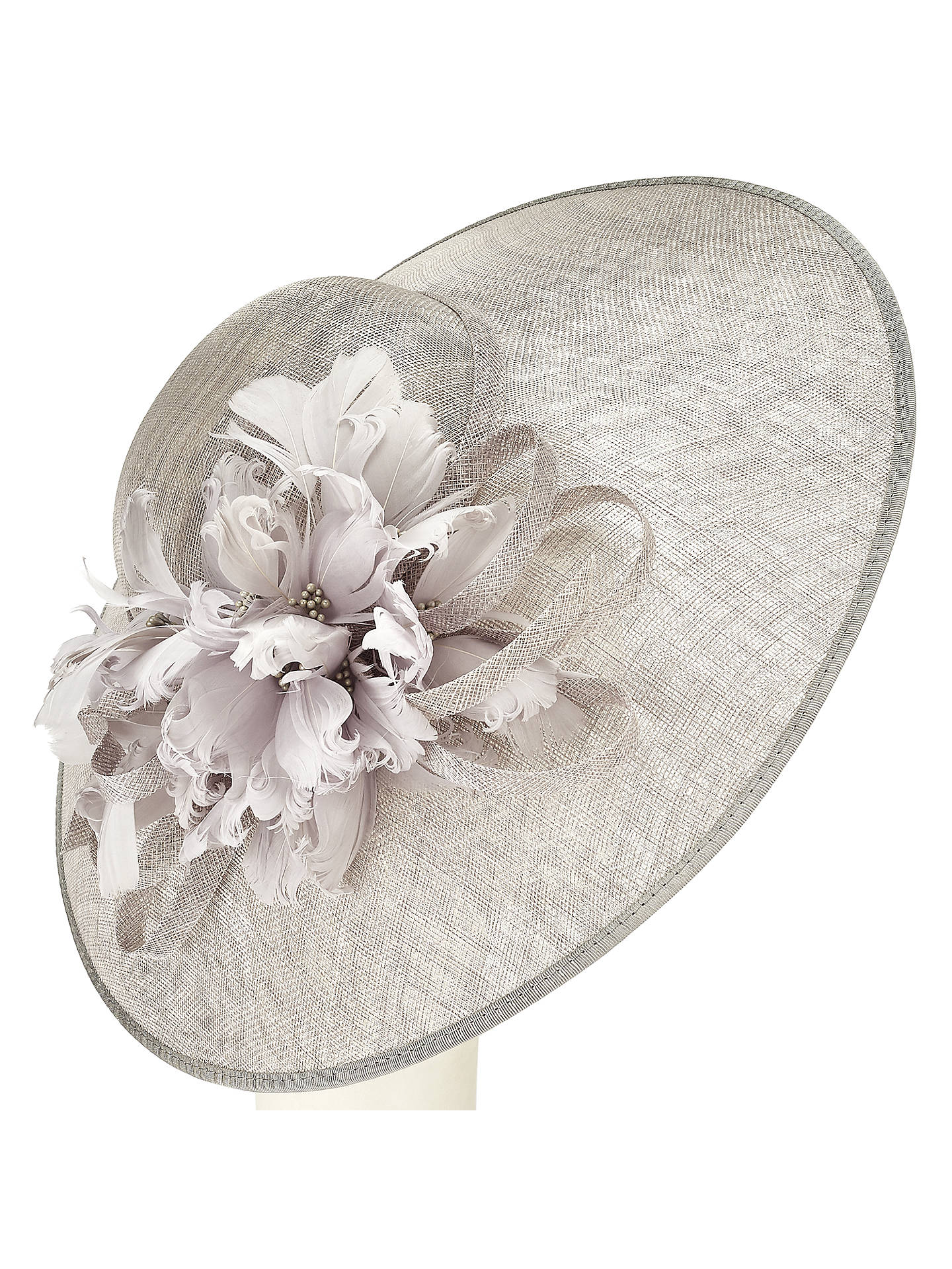 a9757d4bb John Lewis Rei Feather Flower Disc Occasion Hat, Silver at John ...
