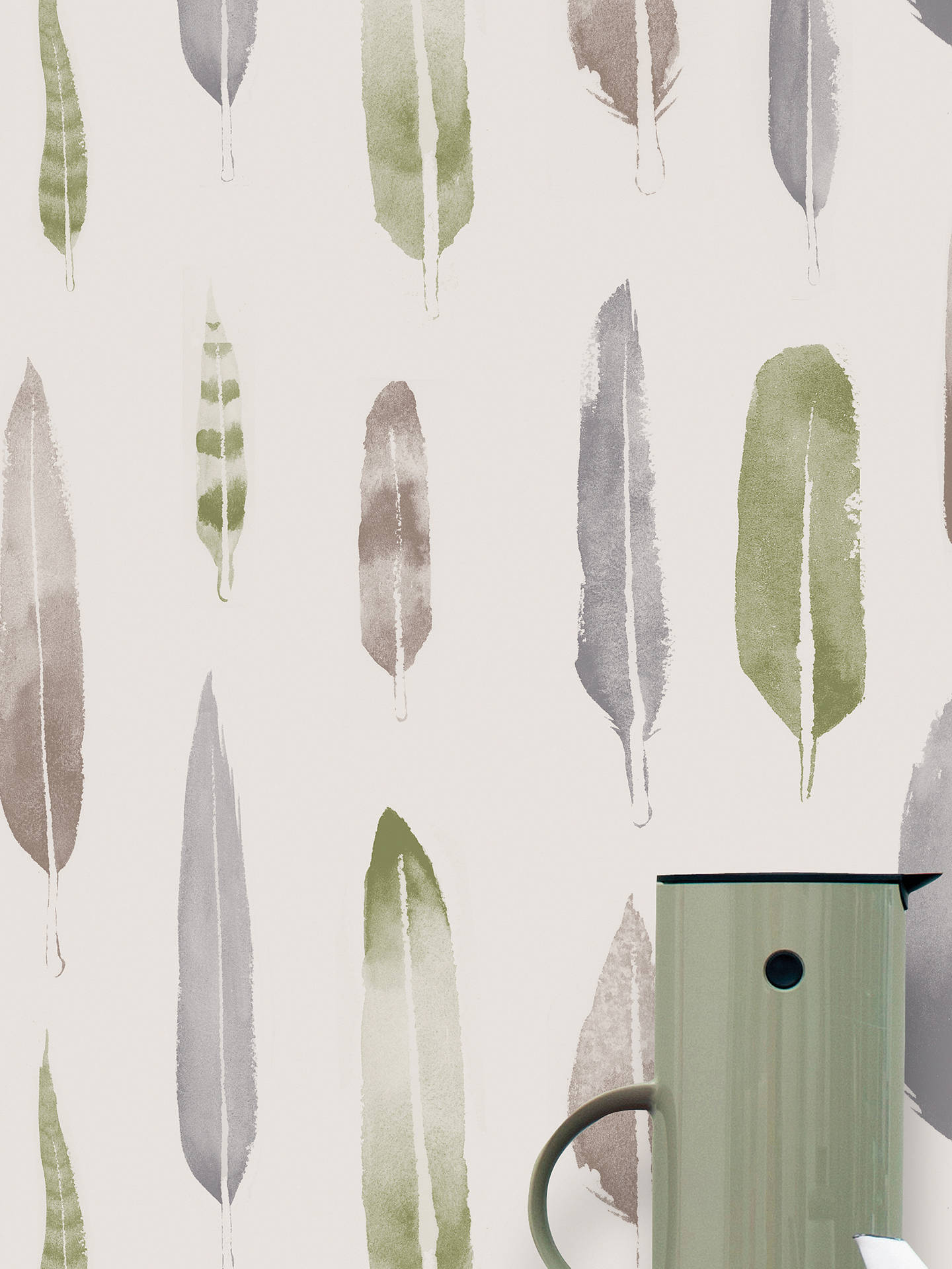 Buy Mini Moderns Feathers Wallpaper, Lichen, AZDPT024BL Online at johnlewis.com