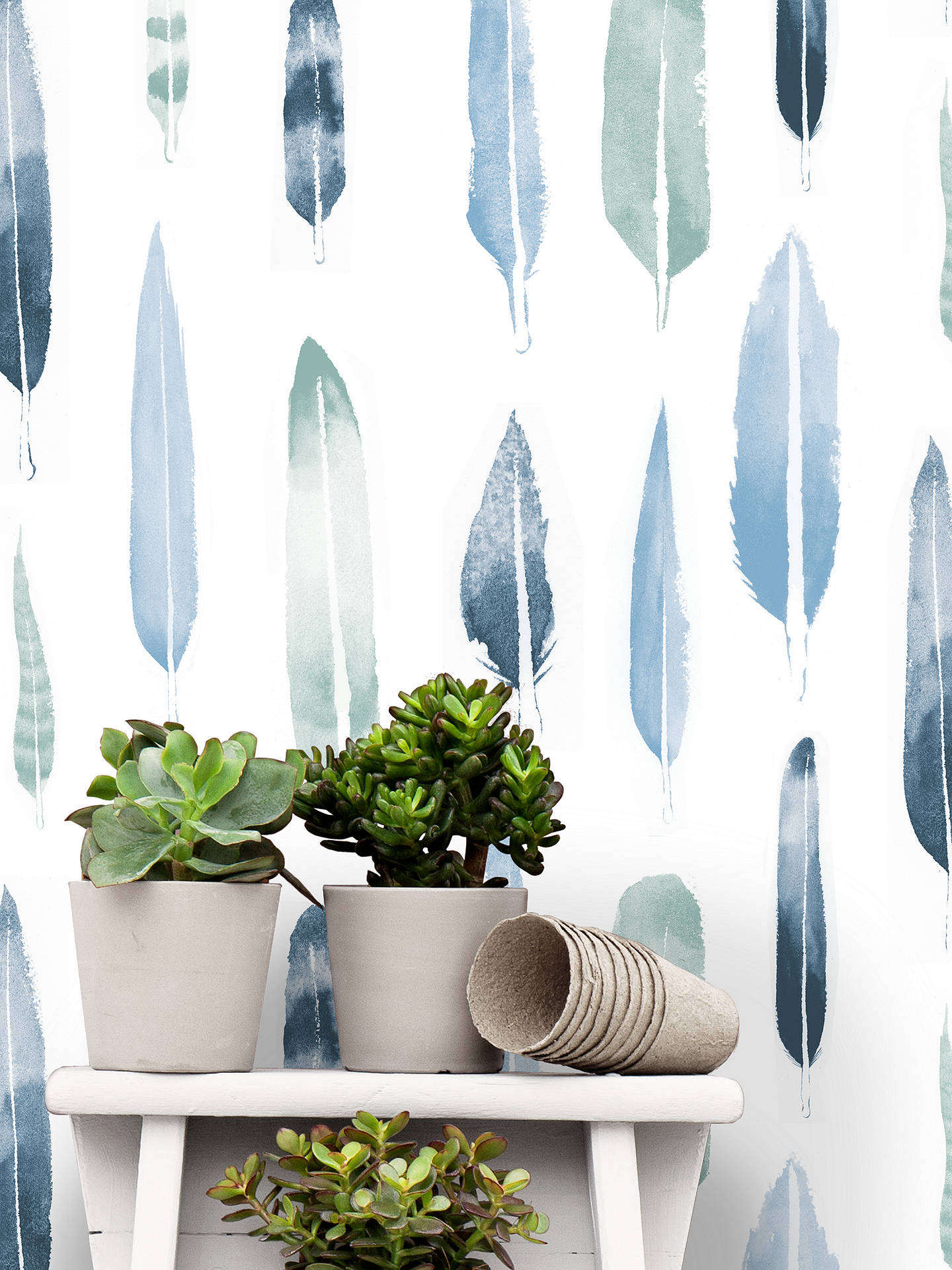 Buy Mini Moderns Feathers Wallpaper, Blue, AXDPT024CB Online at johnlewis.com