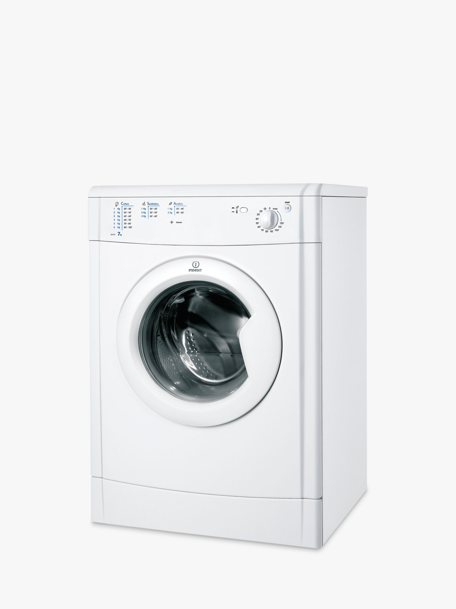 Indesit Indesit IDV75 Ecotime Vented Tumble Dryer, 7kg Load, B Energy Rating, White