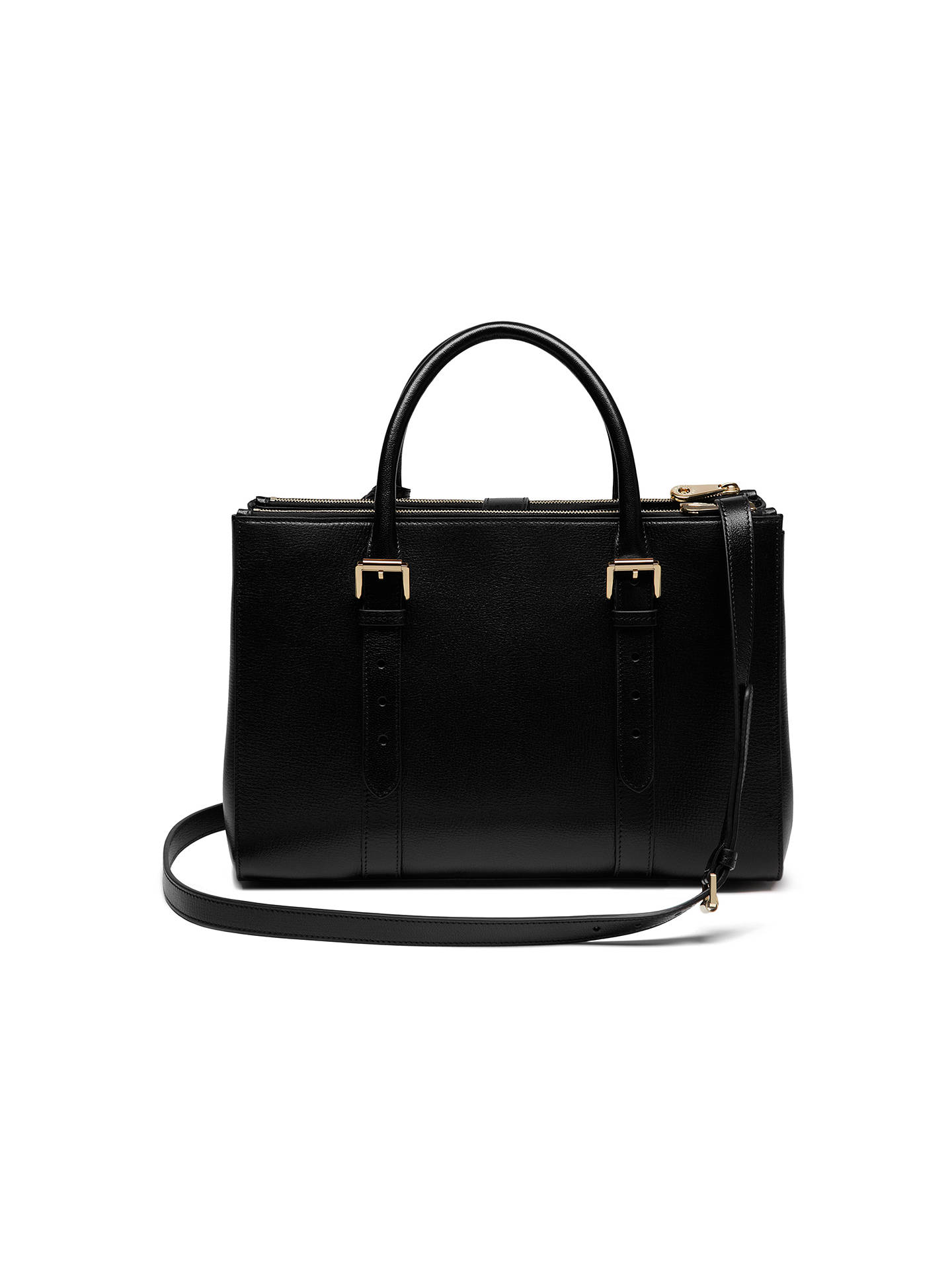 f21aa14390 ... Buy Mulberry Bayswater Leather Double Zip Tote Bag, Black Online at  johnlewis.com