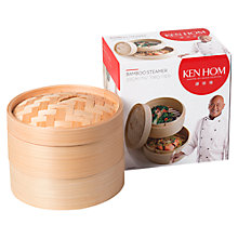 Buy Ken Hom 2-Tier Bamboo Steamer, 20cm Online at johnlewis.com