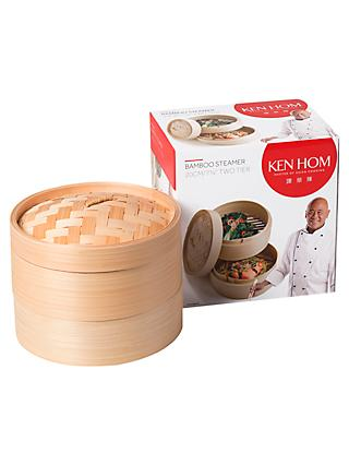 Ken Hom 2-Tier Bamboo Steamer Baskets, 20cm