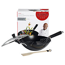 Buy Ken Hom 4-Piece Non-Stick Carbon Steel Performance Wok Set, 32cm Online at johnlewis.com