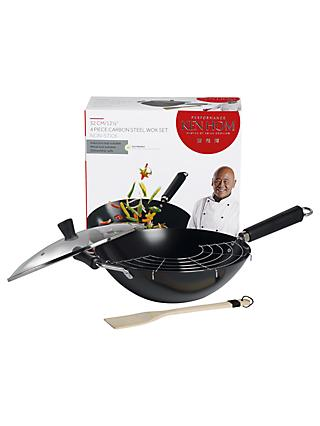Ken Hom 4-Piece Non-Stick Carbon Steel Performance Wok Set, 32cm