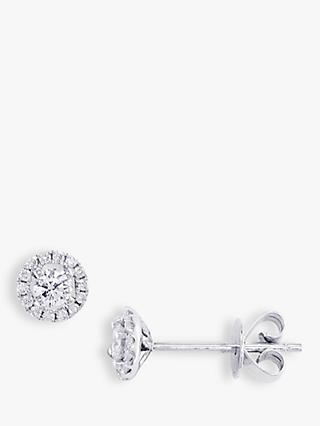 E.W Adams 18ct White Gold Diamond Cluster Stud Earrings, White Gold