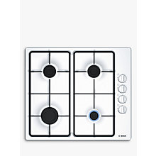 Buy Bosch Serie 2 PBP6B2B60 Gas Hob, White Enamel Online at johnlewis.com