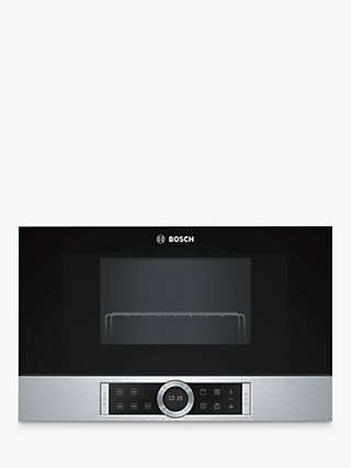 Bosch BEL634GS1B Built-In Microwave with Grill, Black/Stainless Steel