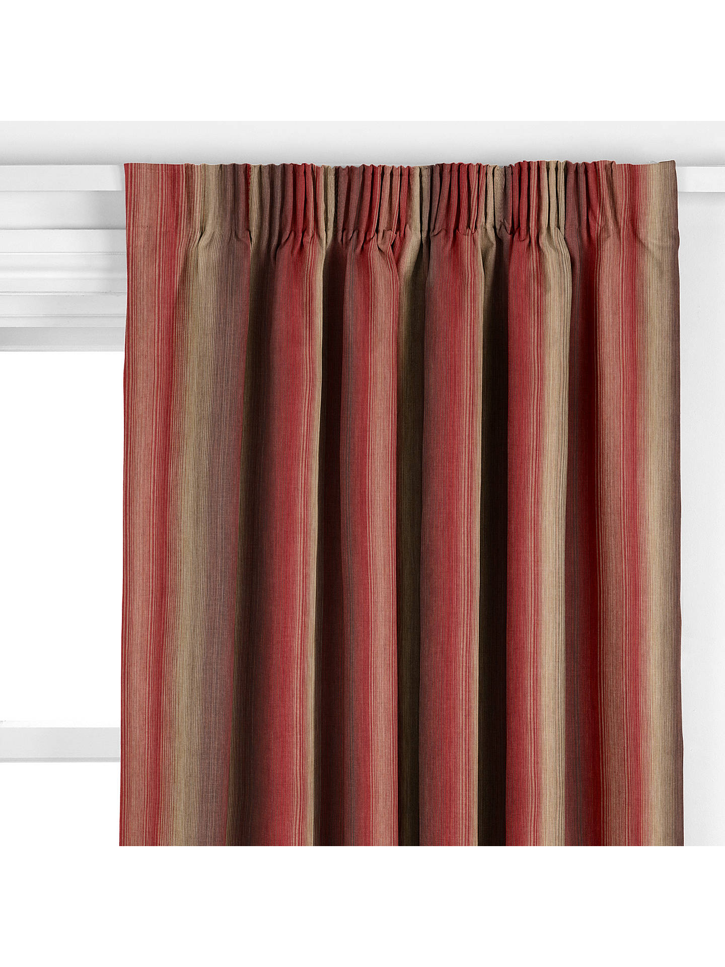 Buy John Lewis & Partners Horizon Stripe Made to Measure Curtains, Red Online at johnlewis.com