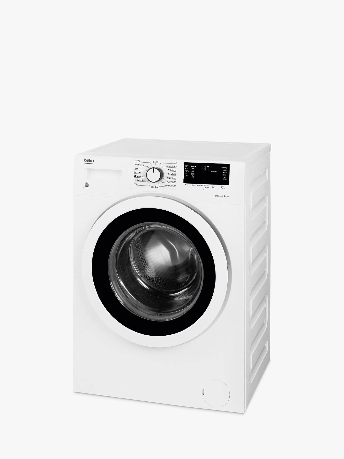 Buy Beko WY74242W Slim Depth Freestanding Washing Machine, 7kg Load, A+++ Energy Rating, 1400rpm Spin, White Online at johnlewis.com