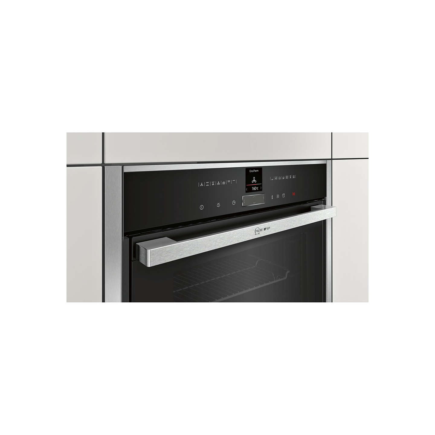 neff b57vr22n0b slide and hide single electric oven stainless steel at john lewis. Black Bedroom Furniture Sets. Home Design Ideas