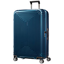 Buy Samsonite Neopulse 4-Wheel 81cm Large Suitcase, Blue Online at johnlewis.com