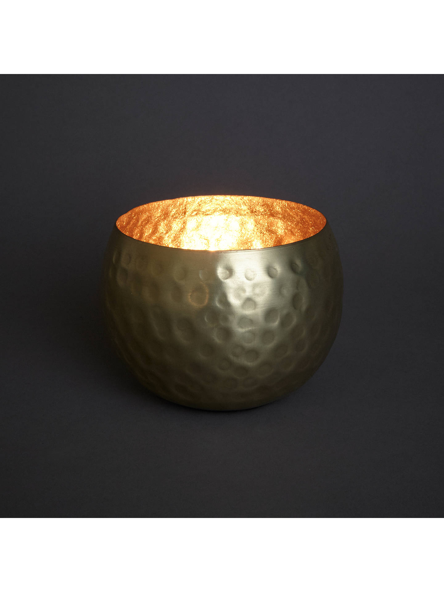 Buy John Lewis & Partners Hammered Tealight Holder, Brass Online at johnlewis.com