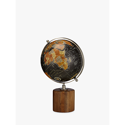 Image of John Lewis & Partners Large Globe on Wooden Stand, Black