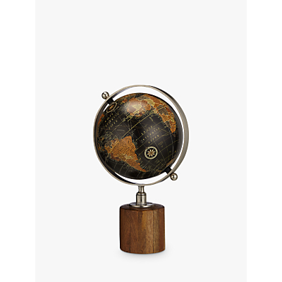 Image of John Lewis & Partners Globe on Wooden Stand, Black
