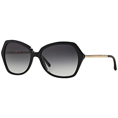 Burberry BE4193 Oval Framed Polarised Sunglasses, Black
