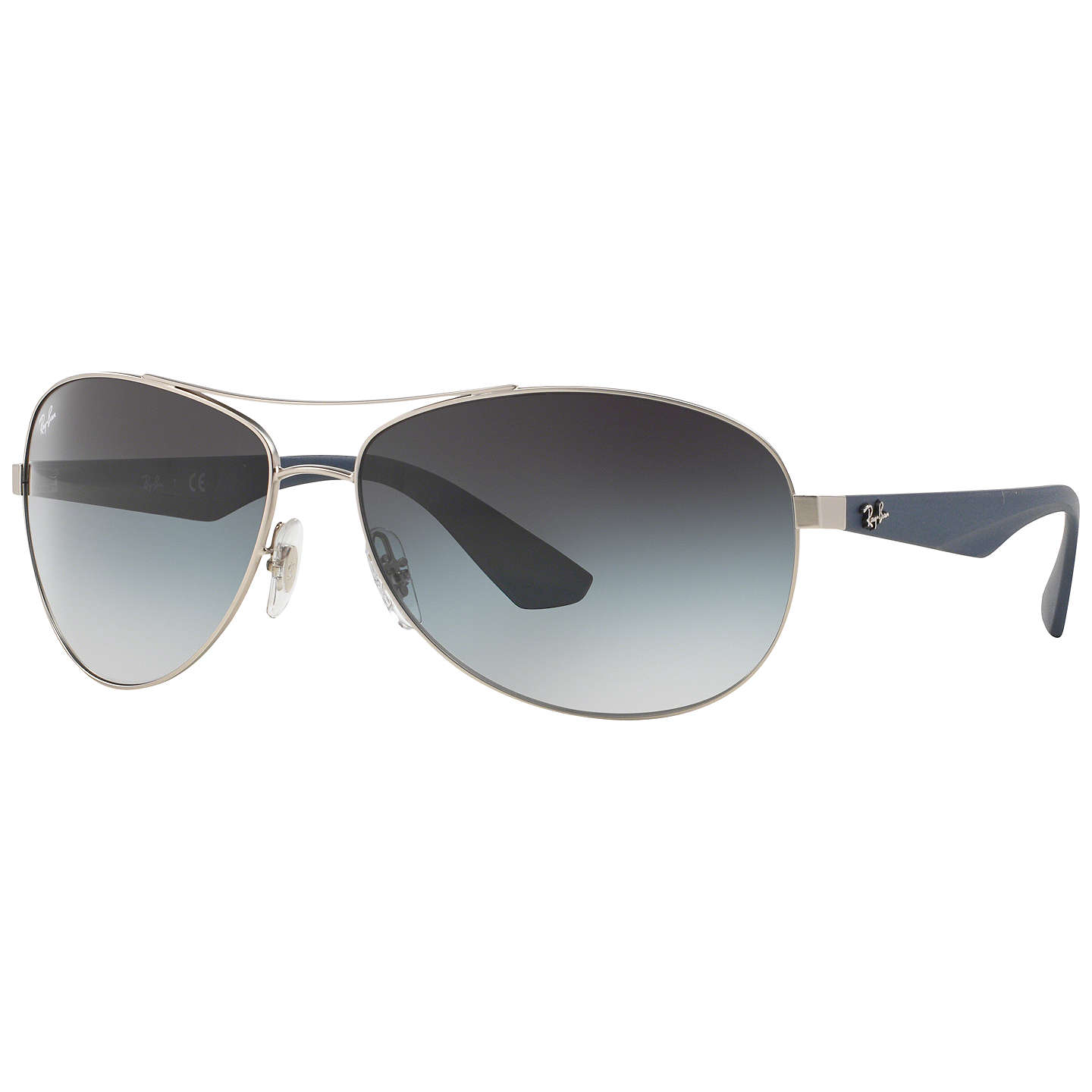 Ray Ban Rb3526 Metal Framed Pilot Sunglasses, Silver by Ray Ban