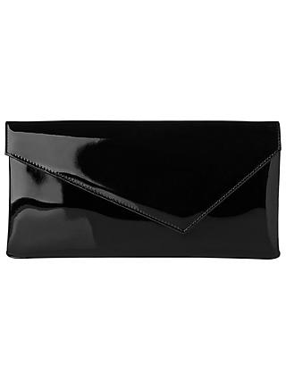 L K Bennett Leonie Patent Leather Clutch Black
