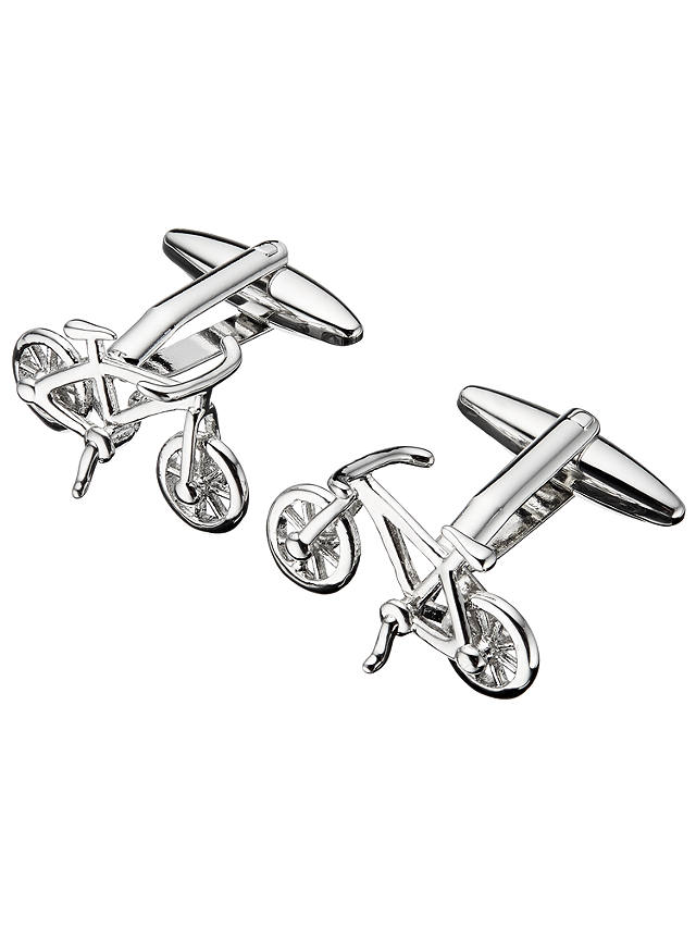 John Lewis & Partners Bike Cufflinks, Silver at John Lewis