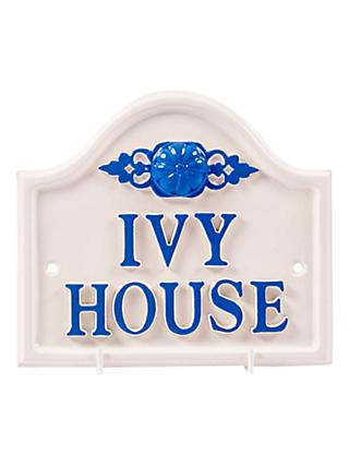 The House Nameplate Company Personalised Aluminium Bridge House Sign, Rose Motif, Small, W19 x L17cm