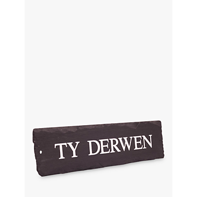The House Nameplate Company Personalised Rustic Slate House Sign, 1 Line, W35.5 x H10cm