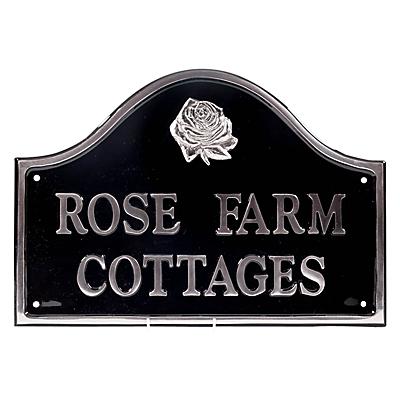 The House Nameplate Company Personalised Polished Aluminium Bridge House Sign, Rose Motif