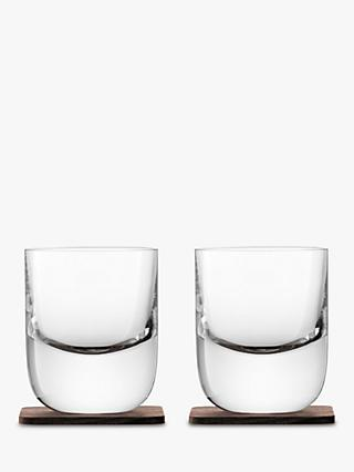 LSA International Straight Whisky Tumbler with Wood Coaster, Set of 2, 270ml, Clear