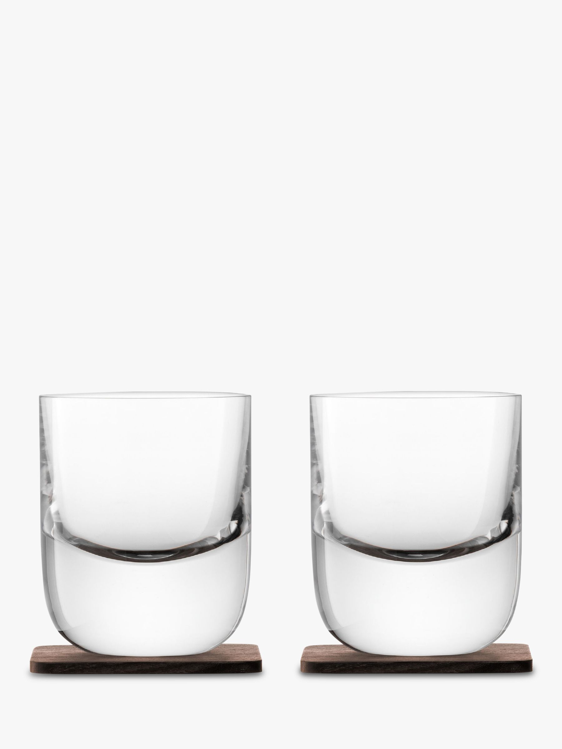 LSA International LSA International Straight Whisky Tumbler with Wood Coaster, Set of 2, 270ml, Clear