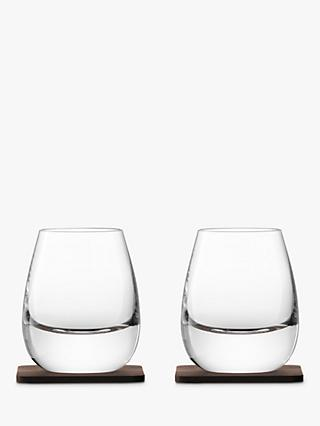 LSA International Curved Whisky Tumbler with Coaster, Set of 2, 250ml, Clear