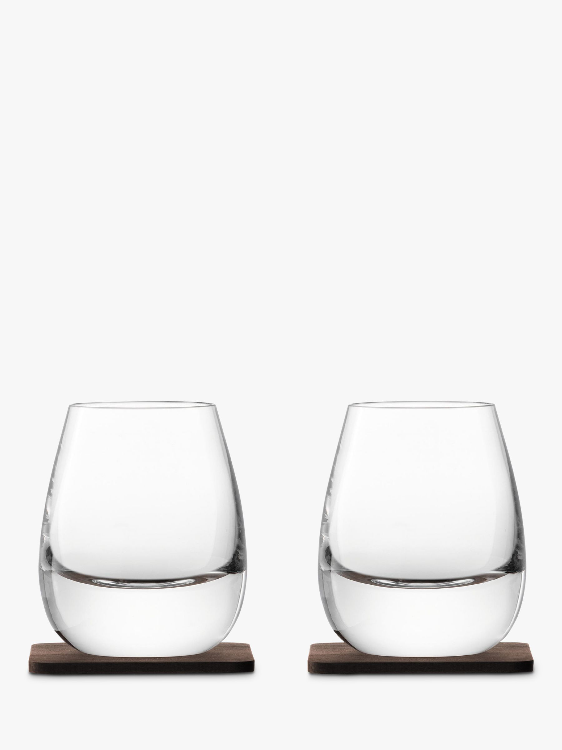 LSA International LSA International Curved Whisky Tumbler with Coaster, Set of 2, 250ml, Clear