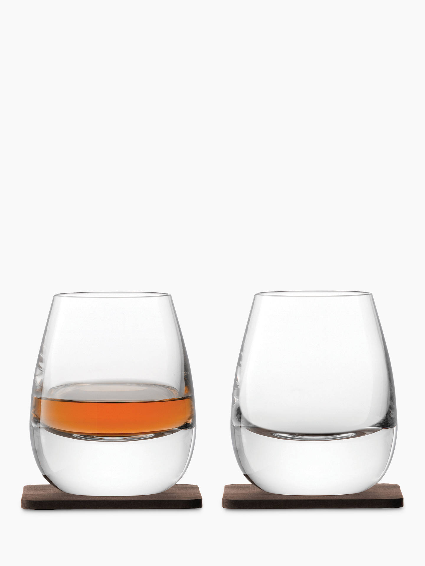 Buy LSA International Curved Whisky Tumbler with Coaster, Set of 2, 250ml, Clear Online at johnlewis.com