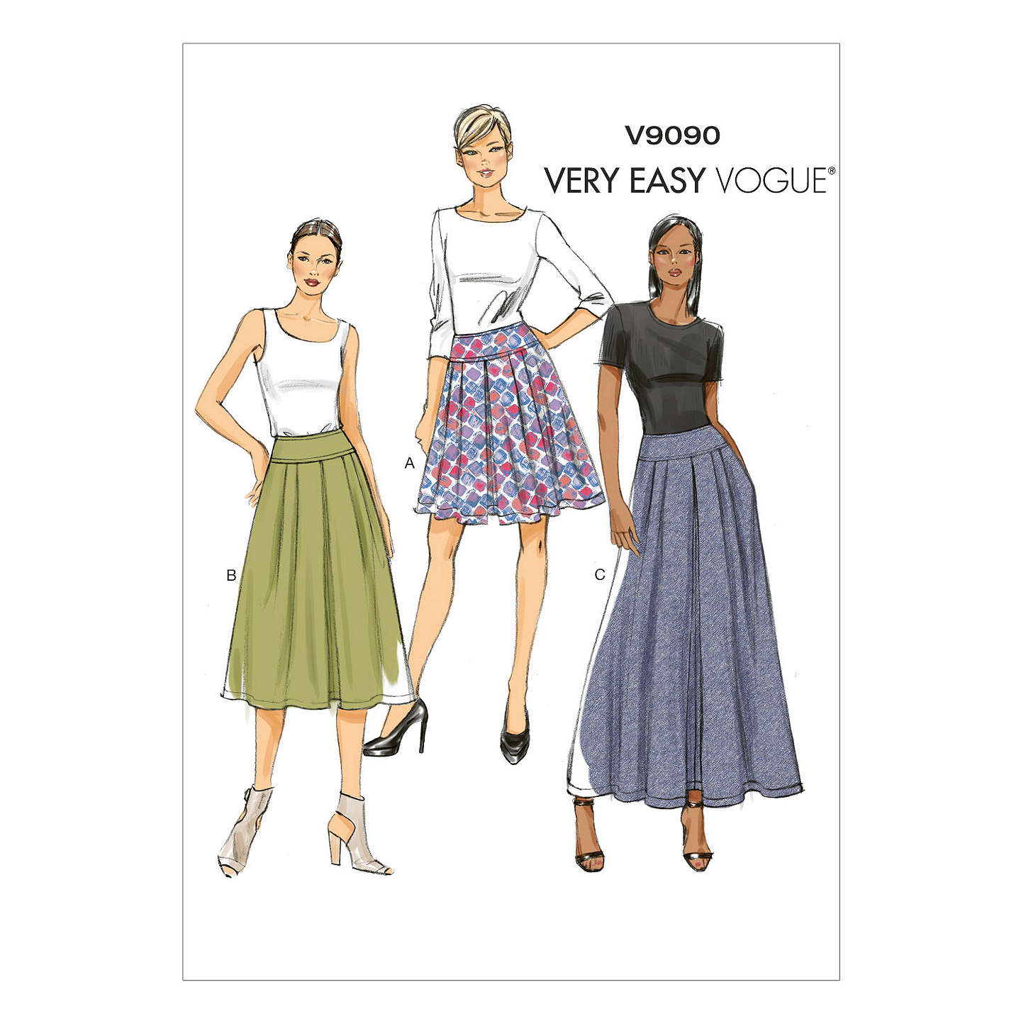 Vogue Very Easy Pleated Skirt Sewing Pattern, 9090 at John Lewis