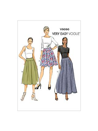 Vogue Very Easy Pleated Skirt Sewing Pattern, 9090