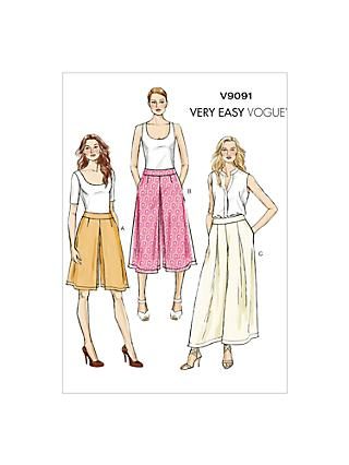 Vogue Very Easy Culottes Sewing Pattern, 9091