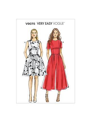 Vogue Very Easy Dress and Jumpsuit Sewing Pattern, 9075