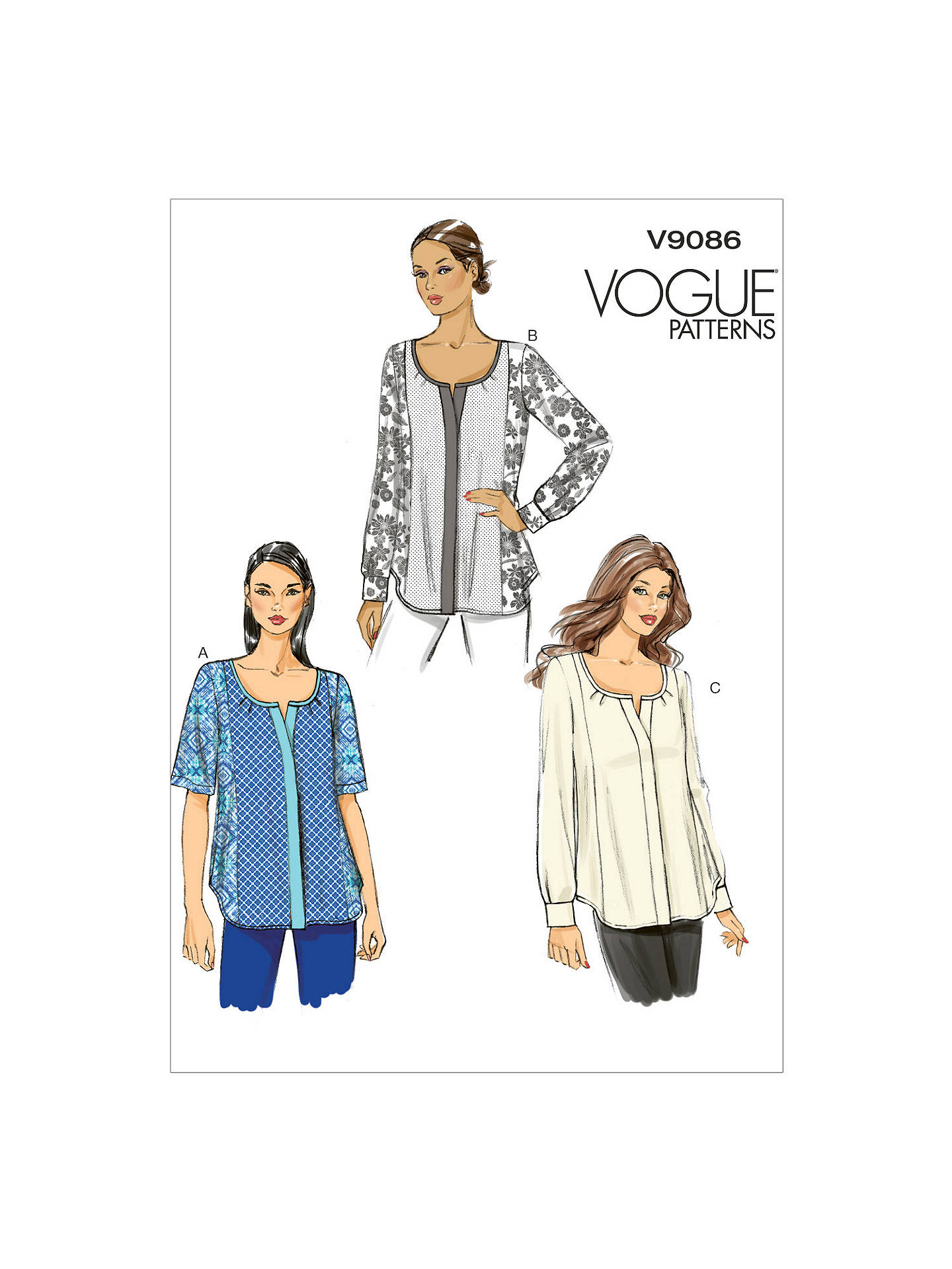 Vogue Very Easy Bias Neck Button Placket Blouse Sewing Pattern, 9086