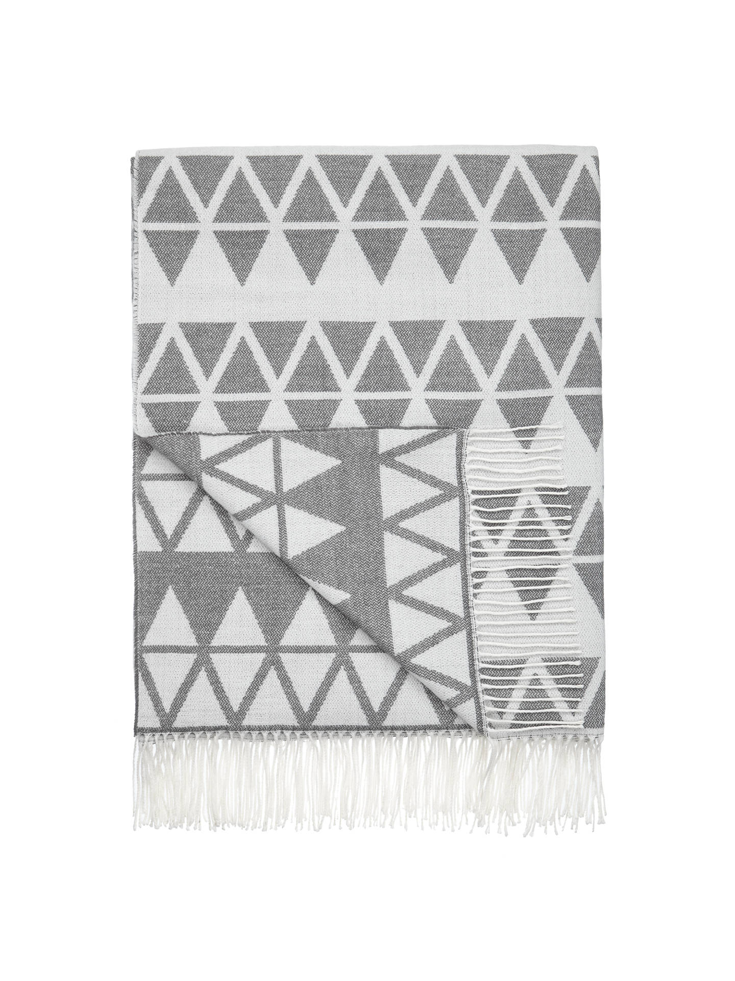Buy John Lewis Triangles Throw, L200 x W150cm, Steel Online at johnlewis.com